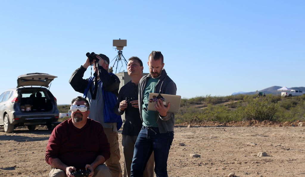 During Black Dart, a counter-drone team watches their system in action. Customs and Border Patrol recently took delivery of several Titan counter-drone systems for operational testing.