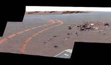Tracks left by the Opportunity rover