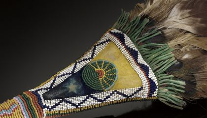 Niuam (Comanche) fan with sun and Morning Star designs (detail), ca. 1880. Oklahoma. 2/1617. (Credit: National Museum of the American Indian, Smithsonian)