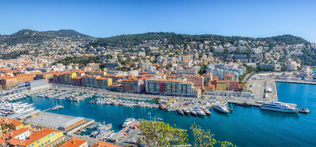View of port of Nice from atop Castle Hill