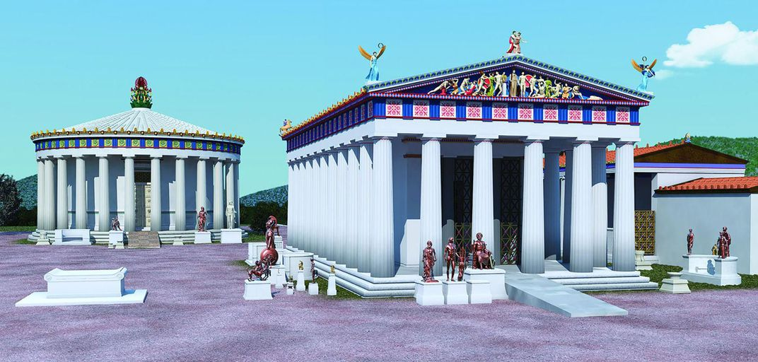 Reconstruction of the Temple of Asclepius and the Thymele at Epidauros