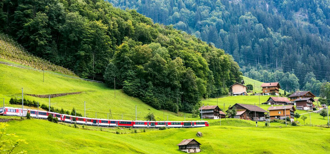 Traveling through the Alpine countryside by train