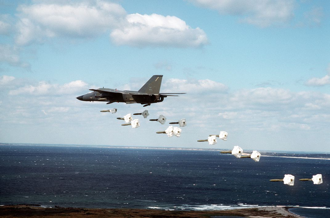 A_509th_Bombardment_Wing_FB-111A_aircraft_drops_Mark_82_high_drag_practice_bombs_along_a_coastline_during_a_training_exercise_DF-ST-91-02468.jpg