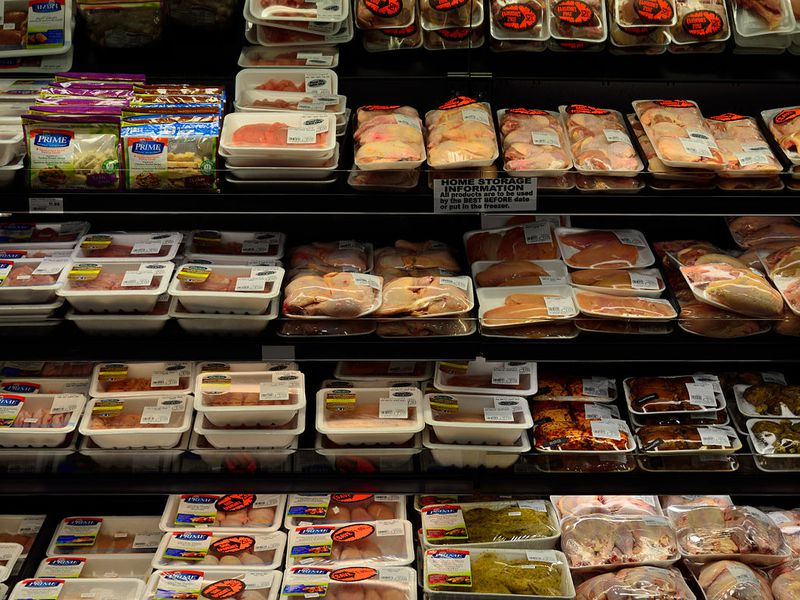 Fresh meat in a supermarket in North America