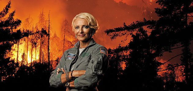 Patty Wagstaff's latest mission:  use the discipline of aerobatics to combat the chaos of California wildfires (photo-composite).