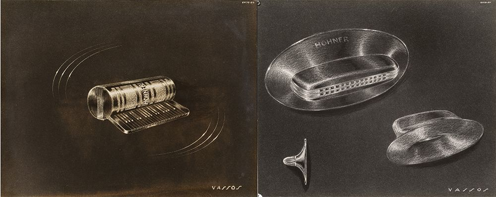 Concept sketches for harmonicas designed by John Vassos.