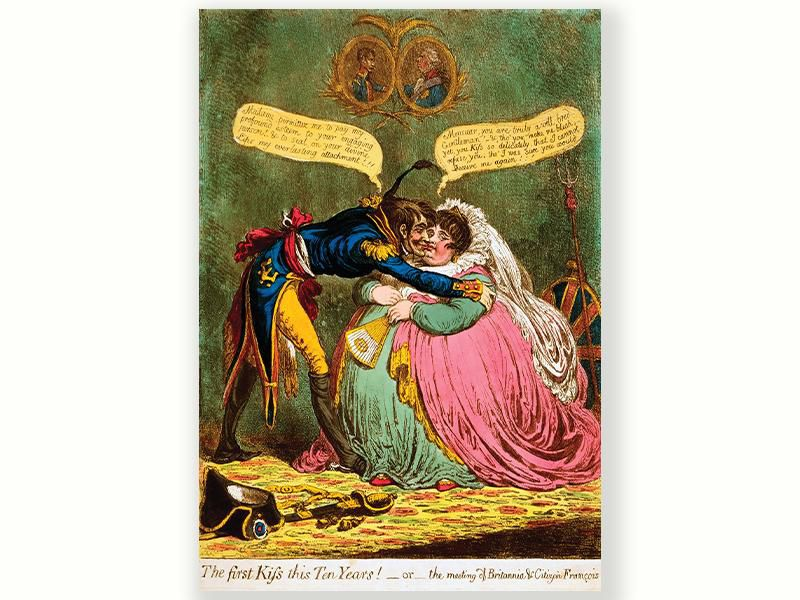 An 1803 satire of the brief peace between France (the officer) and Britain (the woman)