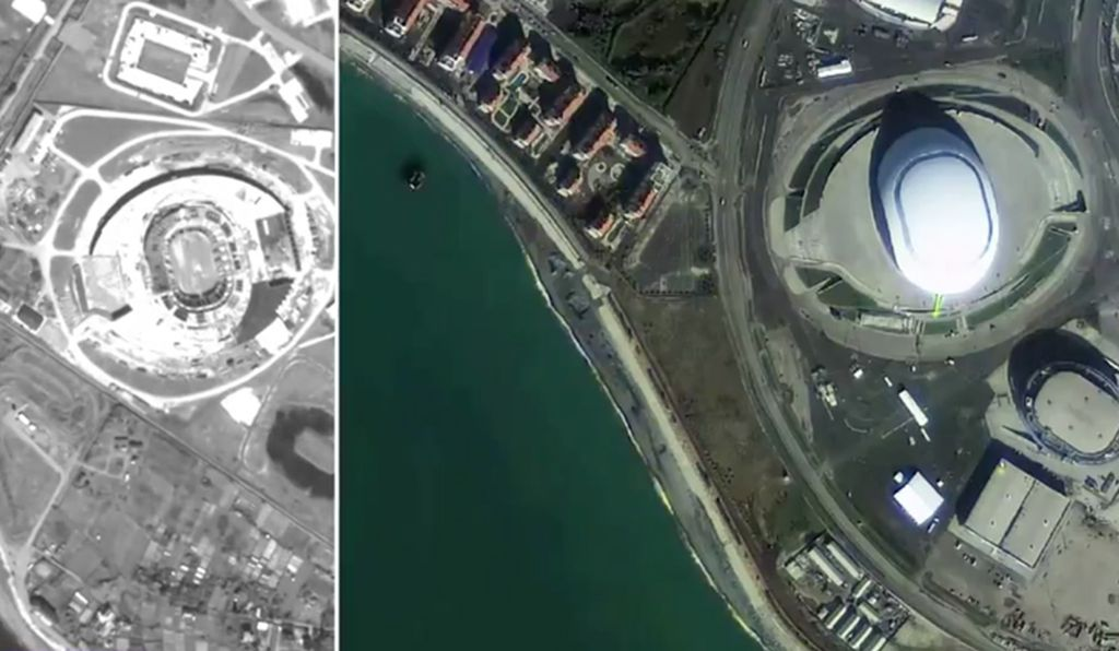 The site of the Sochi games -- before and after -- as seen from orbit.