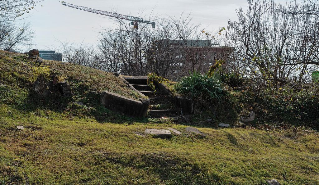 Abandoned steps mark Greenwood's Standpipe Hill area, once home to doctors, teachers and lawyers.