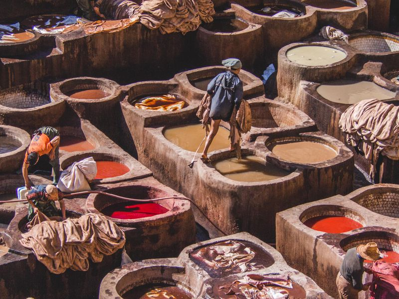 The Fes, Morocco tannery district. It was a cool and sunny February day, and the smell wasn't as strong as I'd been told before. To have a bird's eye view of the process was something I will never forget.