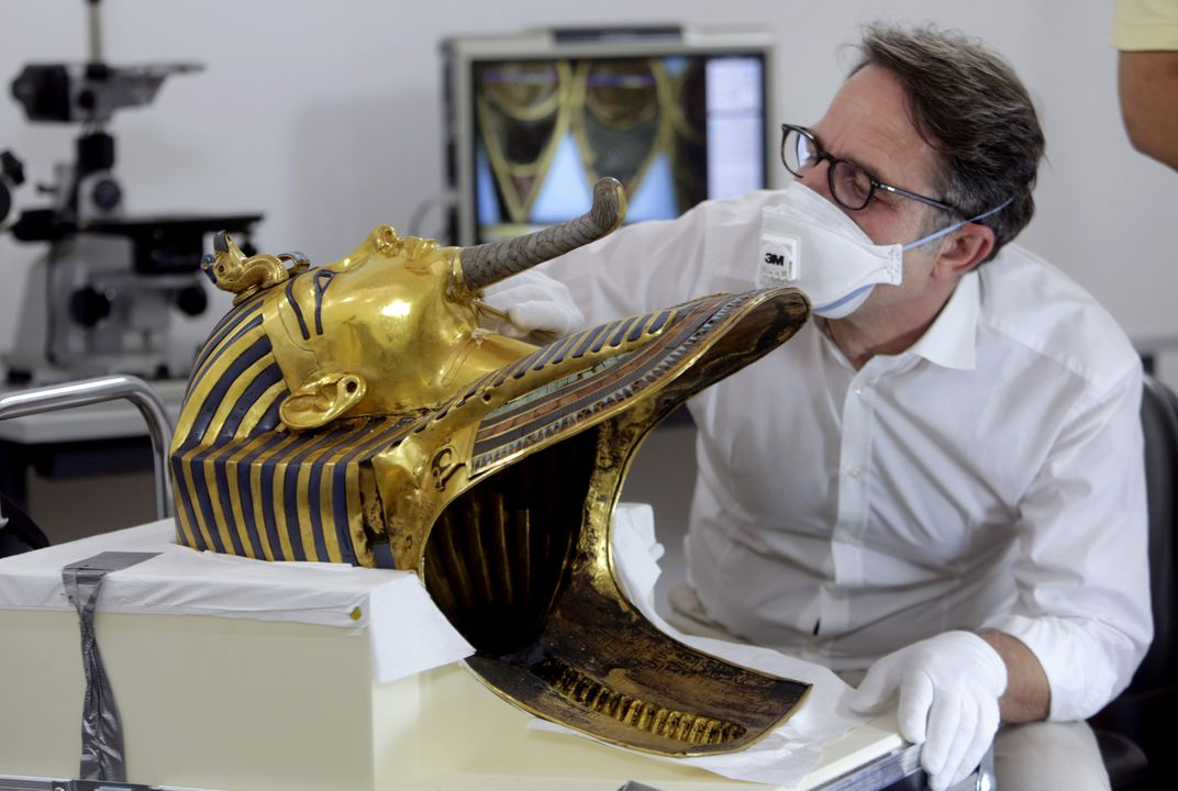 King Tut's mask back on display after botched repair fixed