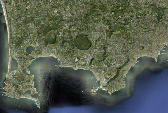 The Campi Flegrei caldera lies to the west of of Naples in southern Italy. (Naples is the giant city on the right).