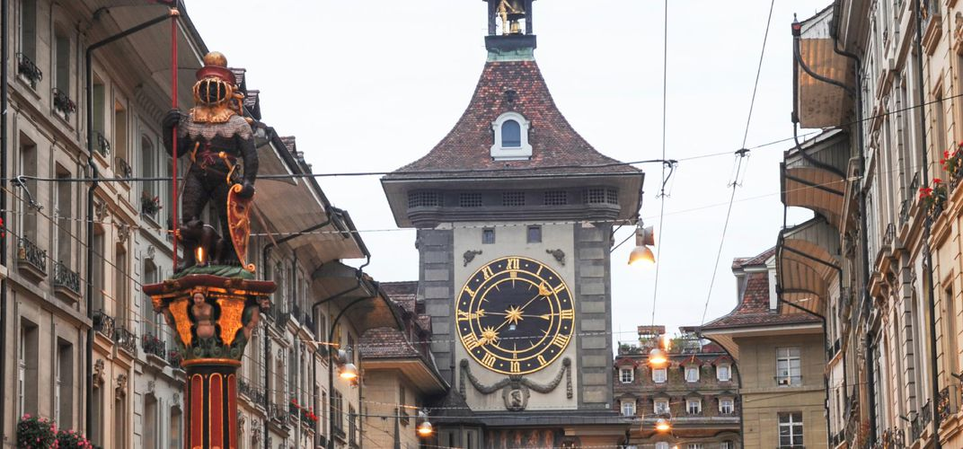 Medieval street and clock tower, Bern