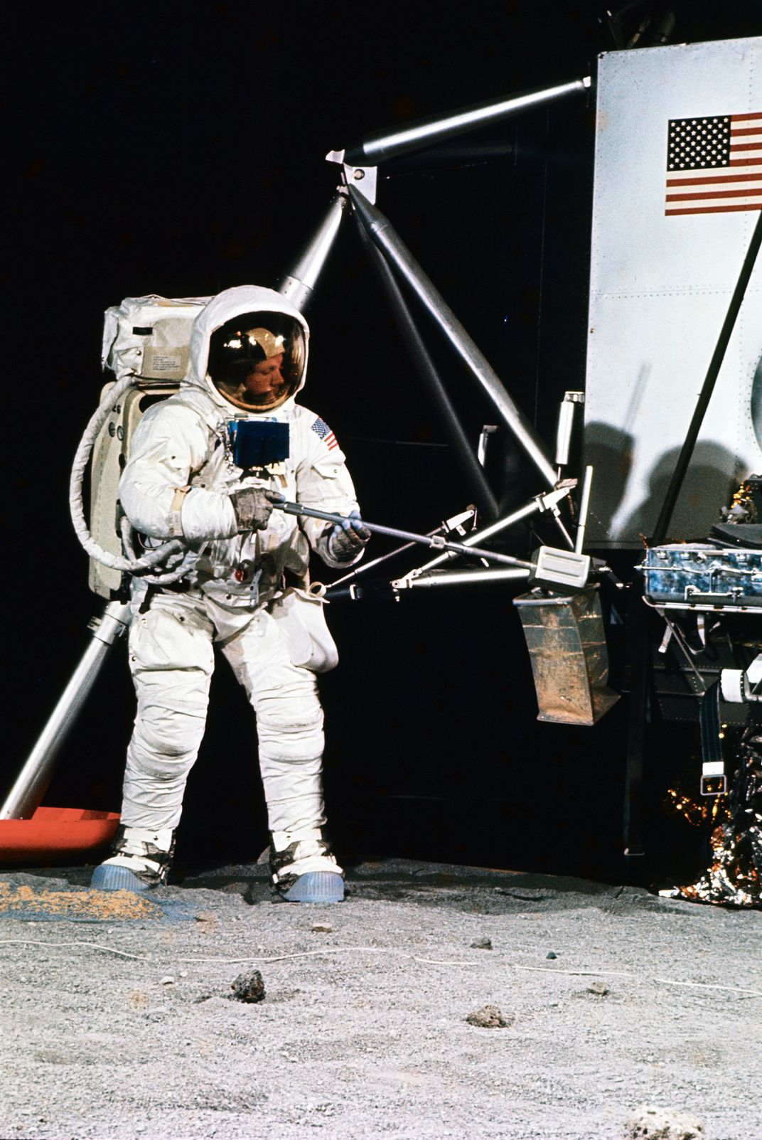 Armstrong With Lunar Tools