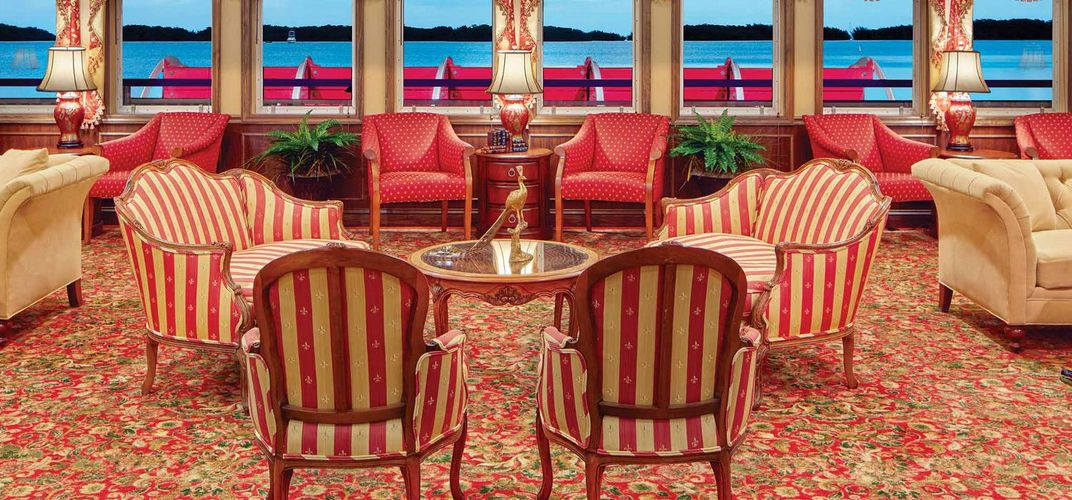 The elegant lounge with amazing view onboard of the American Pride