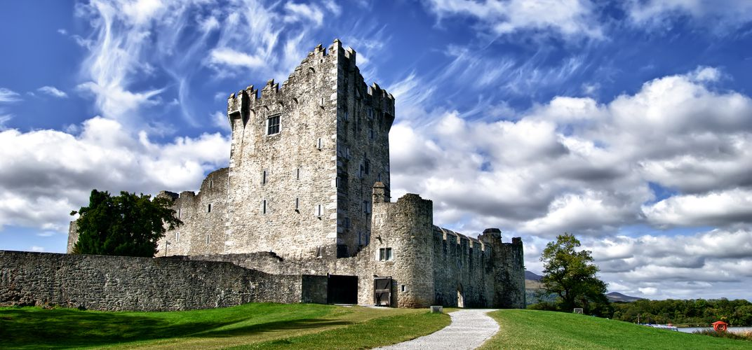 The 15th-century Ross Castle, outside Killarney