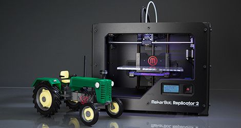The Makerbot Replicator 2 desktop 3D printer