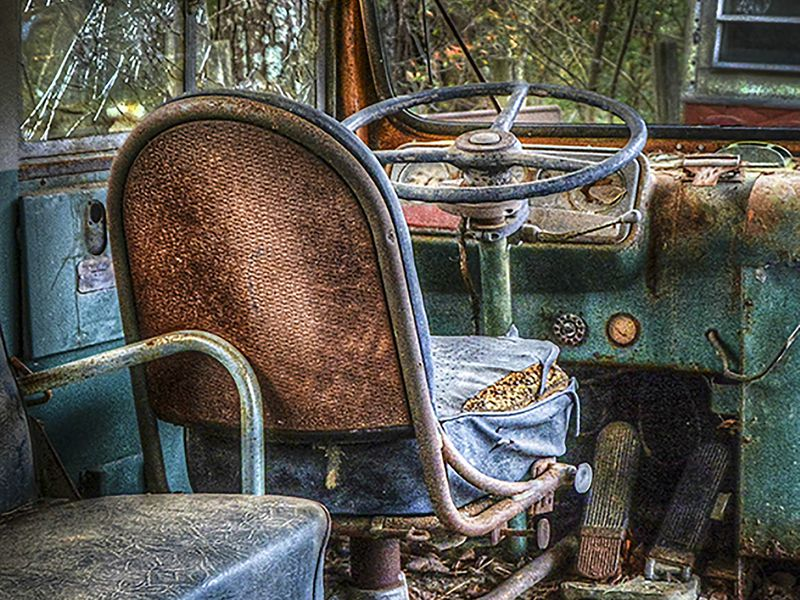 Bus Seat in font of a very old school bus   Smithsonian ... Aperture Science Innovators Font