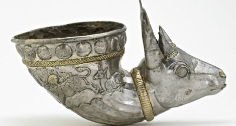 This gazelle-shaped wine horn, on view at the Sackler Gallery, was used to impress guests at elaborate Iranian feasts.