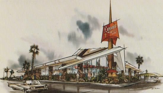 Armet & Davis sketch for Lyon's Coffee Shop in San Bruno, California (1962)