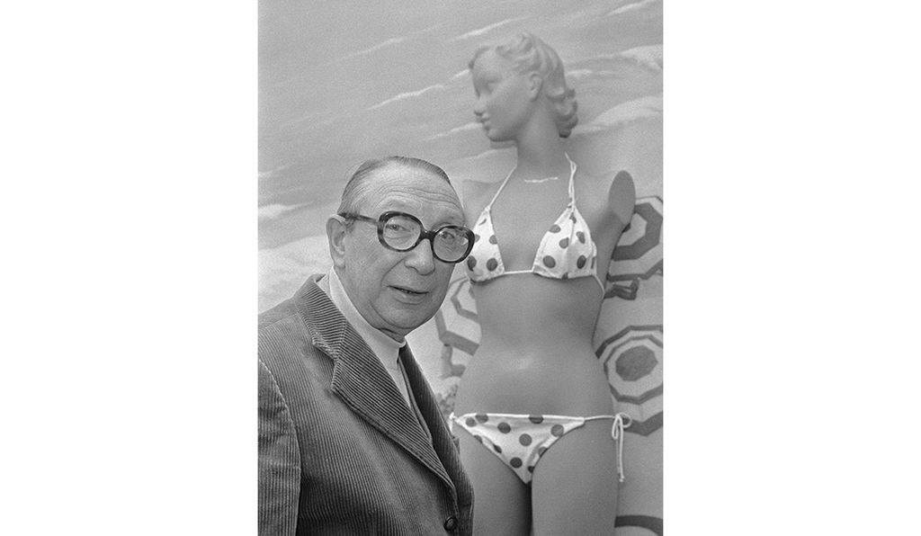 Designer Louis Réard, seen here in 1974, invented the modern bikini in 1946, naming it for the location of the testing site for the atomic bomb.