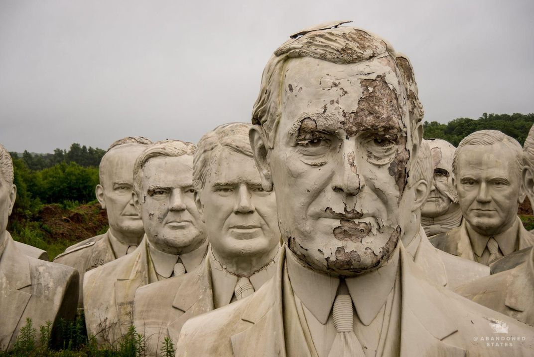 How 43 Giant, Crumbling Presidential Heads Ended Up in a Virginia Field