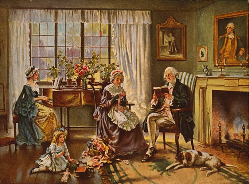 George Washington reading with his family in his living room