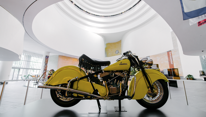 A 1948 Indian Chief motorcycle, a loan from the Barber Vintage Motorsports Museum in Birmingham, Alabama, is on view in the atrium of the museum. When Americans opens in the fall, the motorcycle will be moved to the exhibition gallery.
