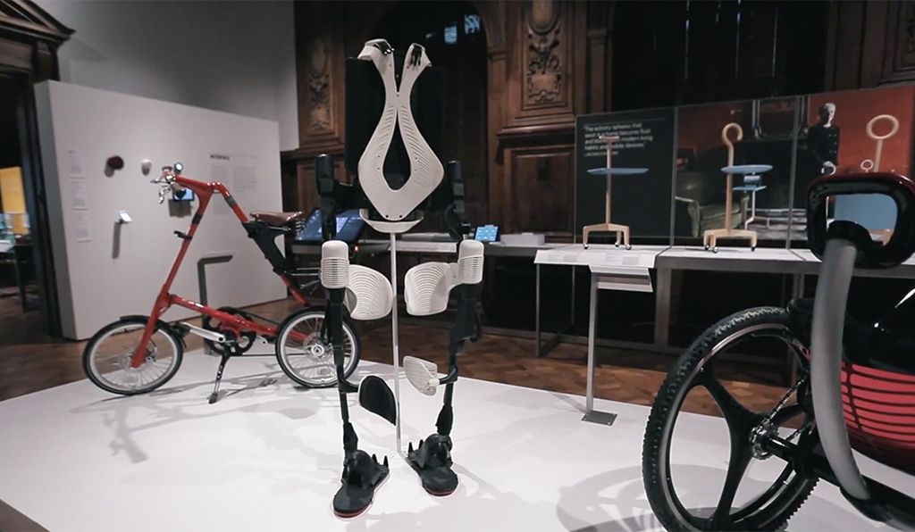 The Ekso bionic suit, with Summit's 3D printed pieces, was on display at the Smithsonian Design Museum earlier this year. (AJ Wilhelm)
