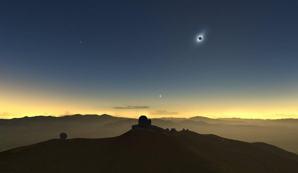 A rendering of the eclipse as seen from La Silla Observatory in Chile.