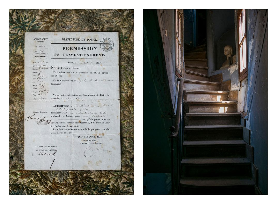 "Bonheur's ""cross-dressing permit"" and the stairs to the attic at the chateau"