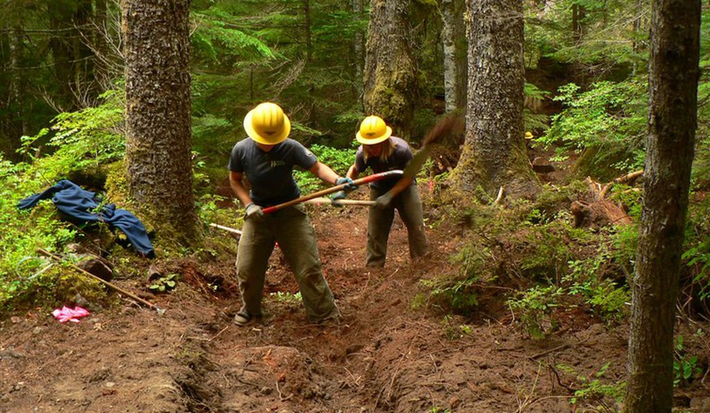 Volunteers help repair a damaged trail in Mt. Rainier National Park, Washington.