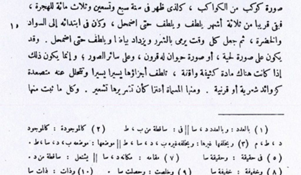 The passage from Ibn Sina's Kitab al-Shifa describing the 1006 A.D. supernova