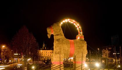 Every Year, a Swedish Town Builds a Giant Straw Goat, And People Just Can't Help Burning It Down