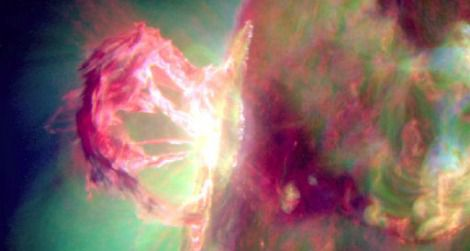 Monday's solar eruption at its peak moment