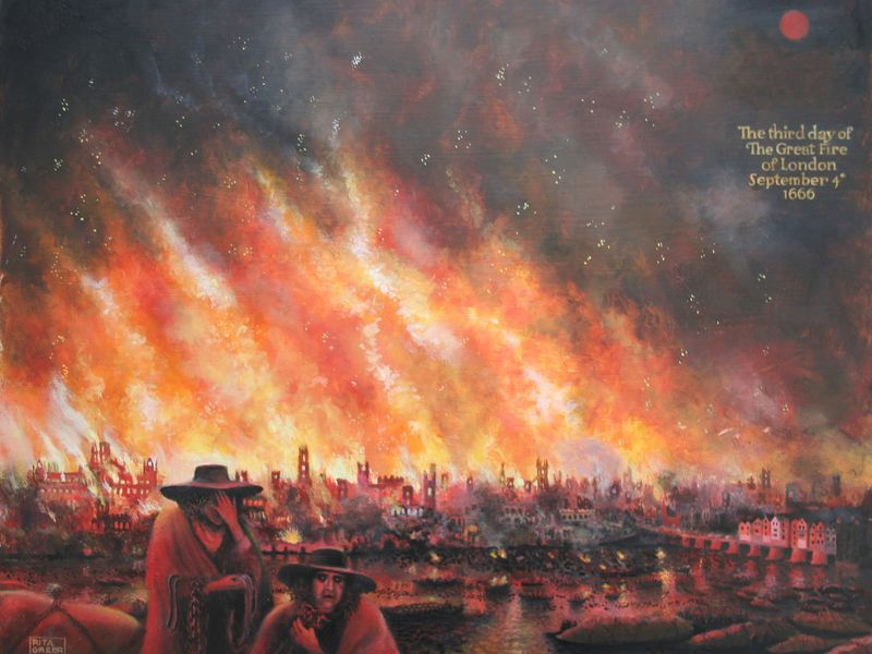 the great fire off london The great fire of london shows the importance of limiting the spread of fire, as  well  as the fire reached london bridge, the water supply was cut off, making it .