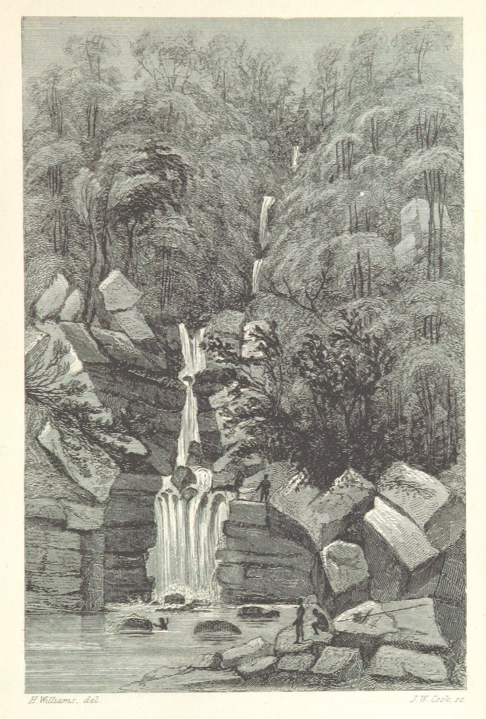 A waterfall in Sarawak.  Hugh Low, 'Sarawak; its inhabitants and productions; being notes during a residence in that country with the Rajah Brooke.'