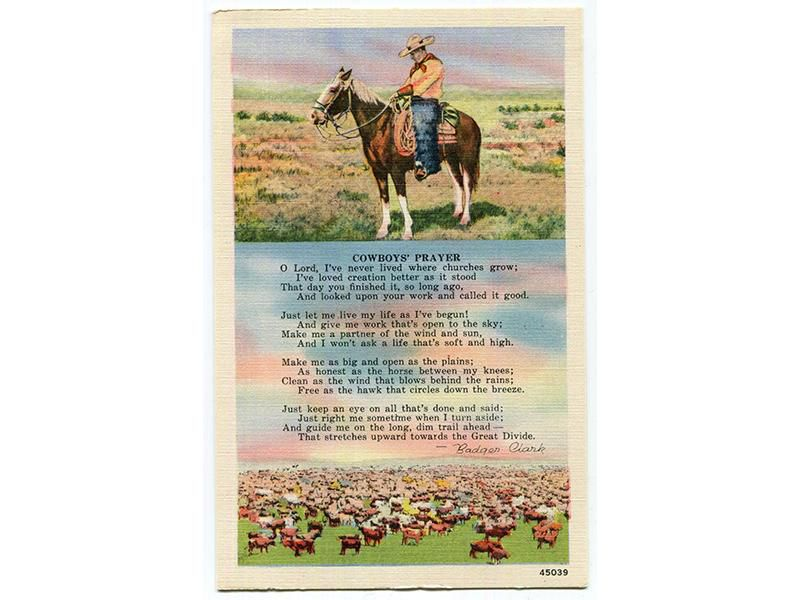 "A vintage postcard from the Black Hills Novelty and Manufacturing Company features Badger Clark's poem ""Cowboys' Prayer."""