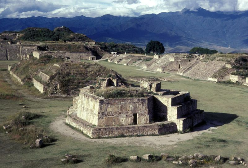 The main plaza of Monte Albán, in the Oaxaca Valley. Building J