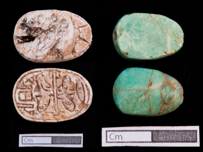 Grave goods recovered at the archaeological site