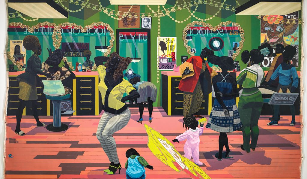 "<em>School of Beauty, School of Culture</em>, acrylic and glitter on unstretched canvas, by Kerry James Marshall, 2012. Marshall is featured in the exhibition ""Figuring History: Robert Colescott, Kerry James Marshall and Mickalene Thomas,"" opening in February at the Seattle Art Museum.&#8221;></noscript></span><figcaption class="