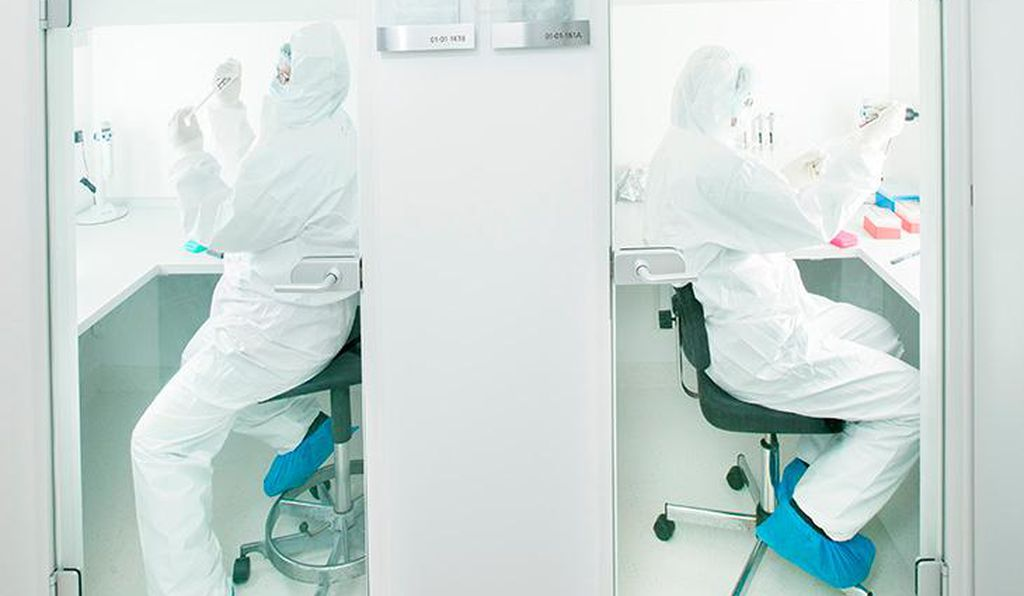 Researchers in Eske Willerslev's GeoGenetics lab at the University of Copenhagen worked in a clean room to reduce contamination from modern genes when extracting ancient DNA from a hand bone of the Kennewick Man.