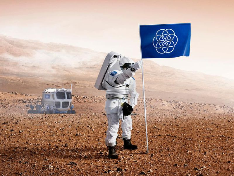 Earth flag on Mars