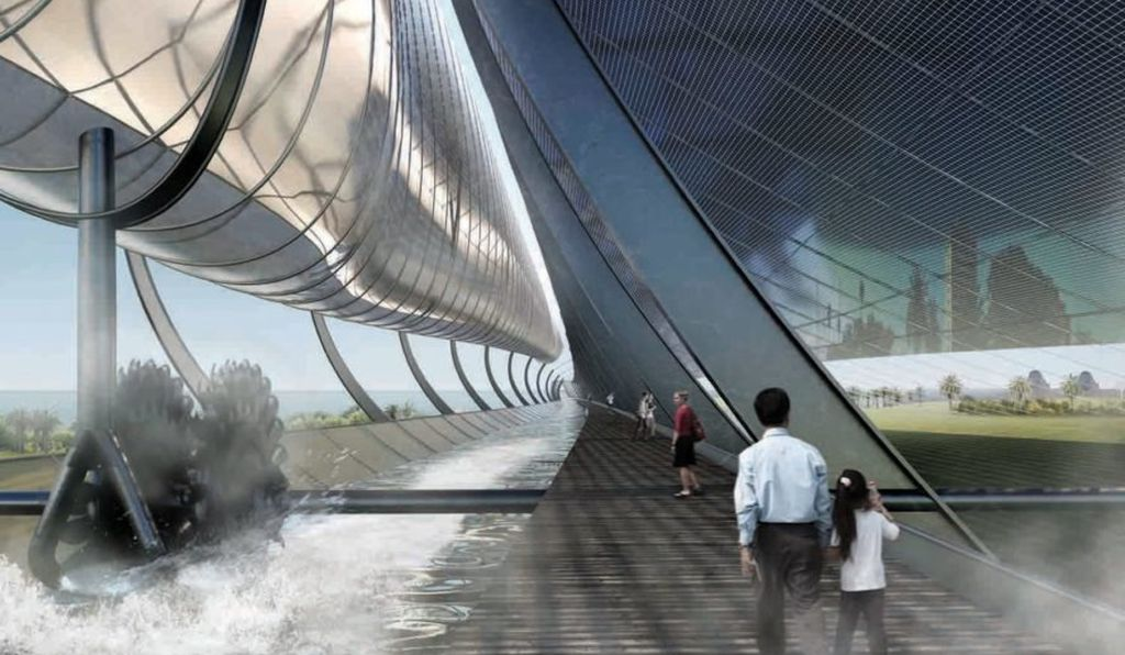 "Seattle design firm Olson Kundig proposed a hydro-solar generator promenade called ""Night & Day."""