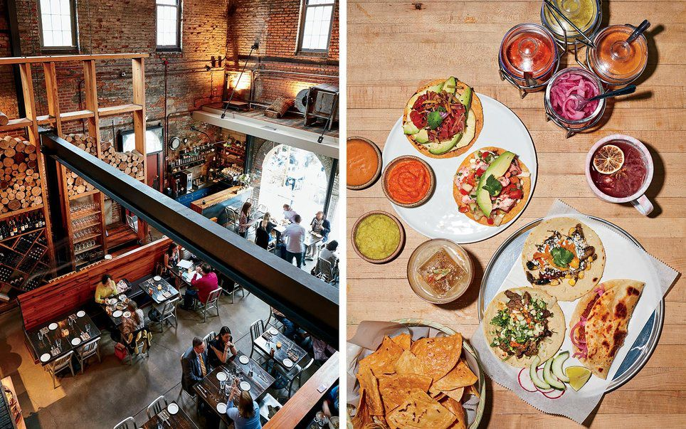 From left: Woodberry Kitchen is located inside an old brick building once used as an iron foundry; Tacos at Clavel, in Remington.
