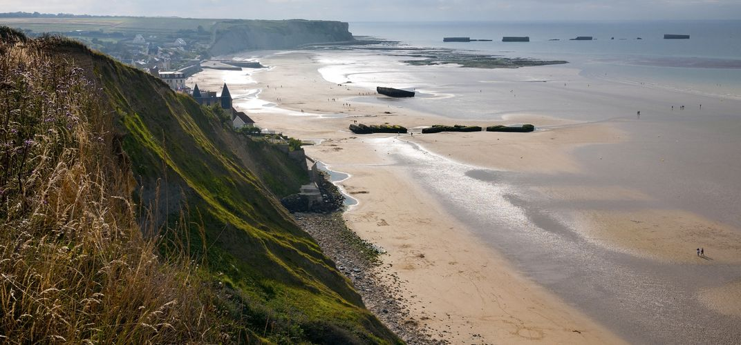 Remains of Mulberry Harbor at Arromanches