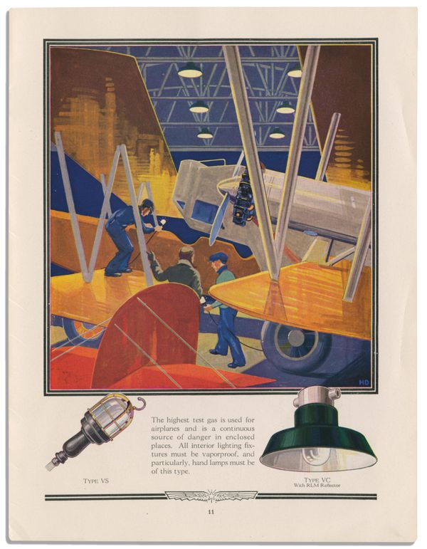 illustrated ad for airplane lights with rich yellow and blue-purple colors