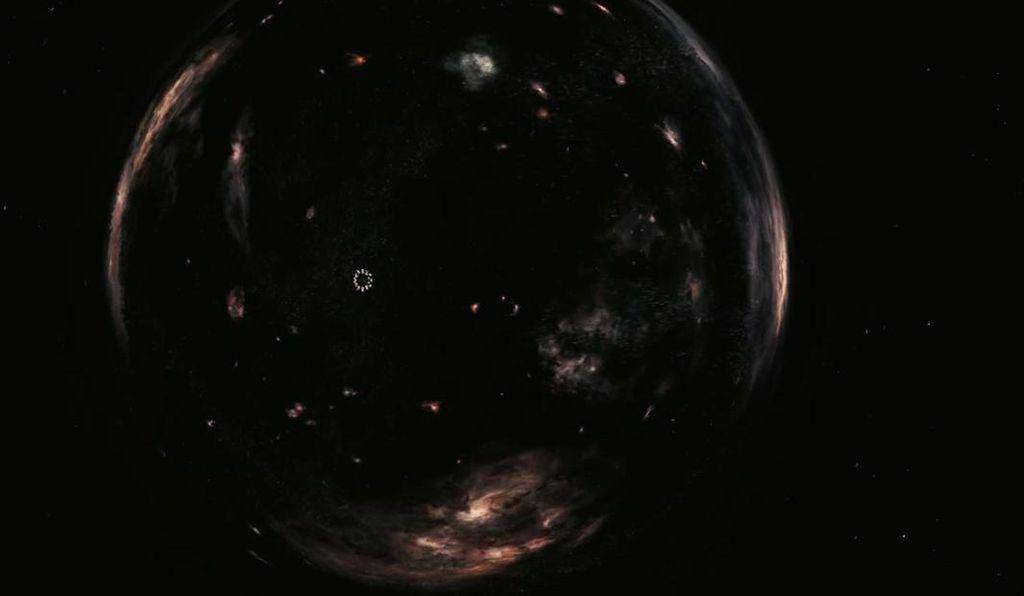 A still from the <em>Interstellar</em> trailer shows the flower-like <em>Endurance</em> spaceship approaching the wormhole.