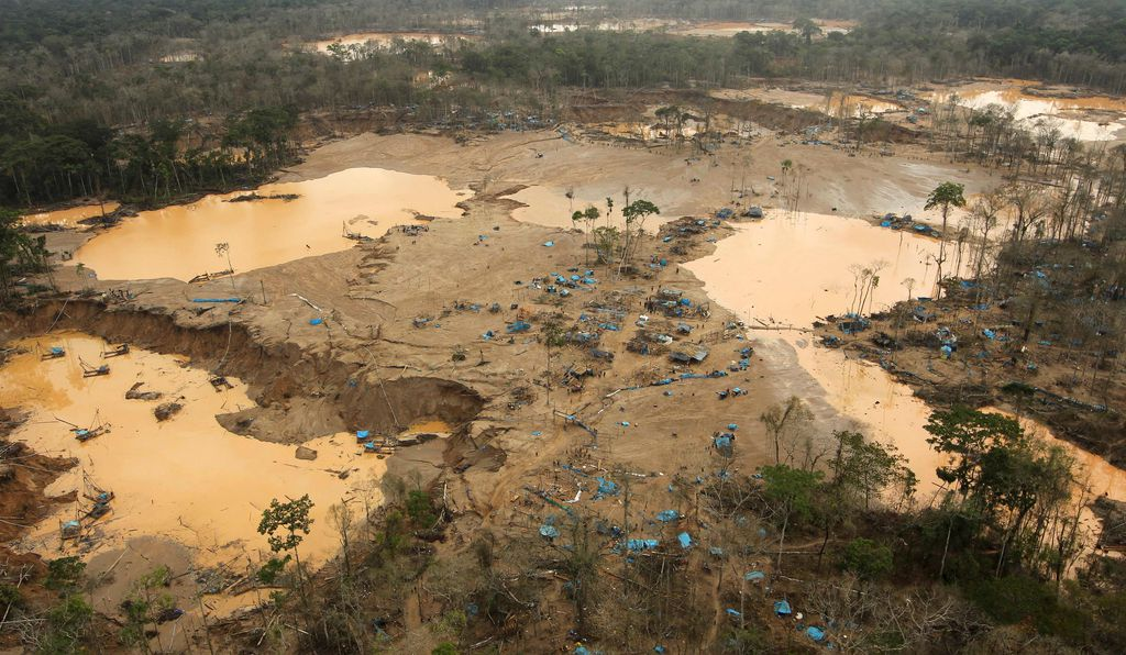 Gold mining destroyed forest in the Madre de Dios region of the southern Amazon in Peru.