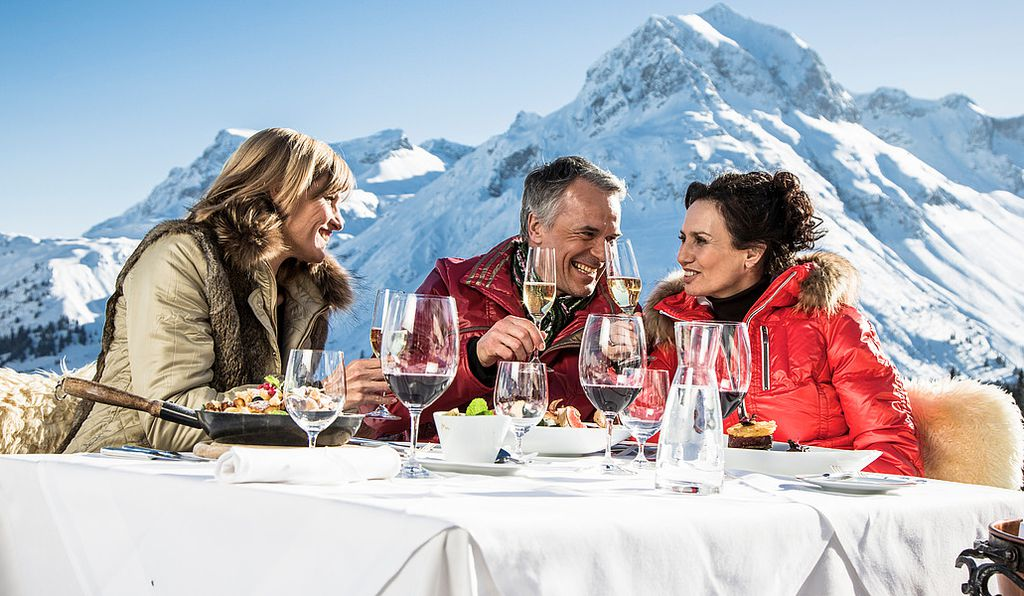 Gourmet food and wine can always be enjoyed with a view in the Arlberg region.